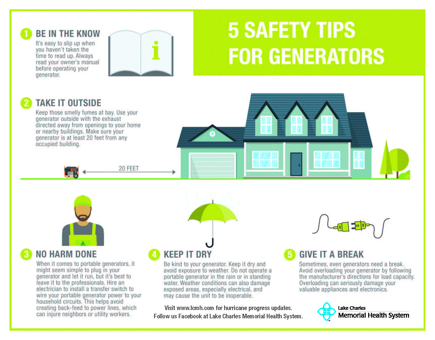 Generator safety tips graphic